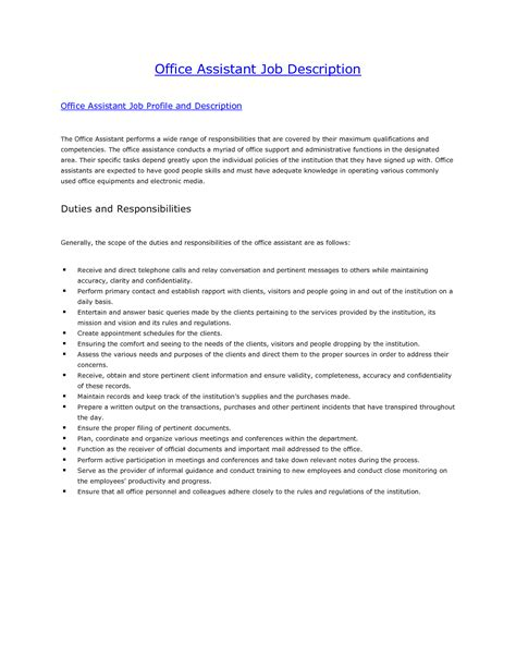 office assistant description sle office assistant