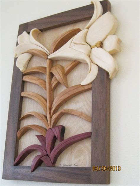 lily intarsia carved flower  rakowoods easter wall