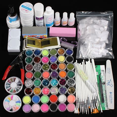nail design kit 48 acrylic glitter powder uv primer builder cleaner nail