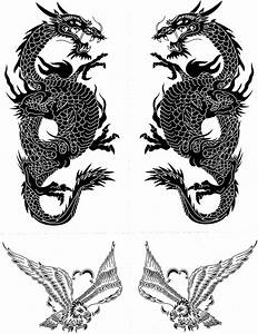 Black And White Dragon Eagle Tattoo Samples