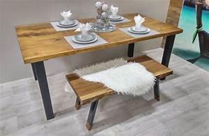 Table De Cuisine En Bois : table de cuisine rustika en bois m tal table d ner rustique chic ~ Teatrodelosmanantiales.com Idées de Décoration