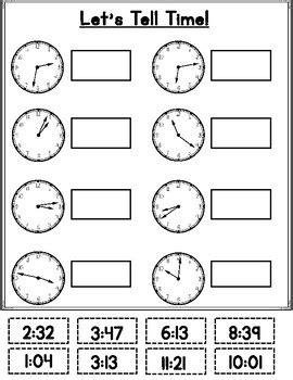 telling time cut  paste  bilingual teacher world tpt