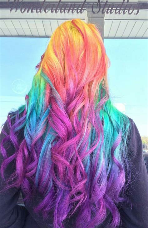 Rainbow Purple Dyed Hair Color Inspiration Colorful Hair