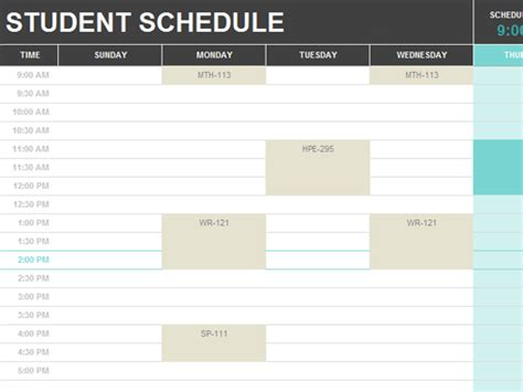 student schedule template student schedule office templates