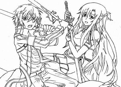 Coloring Sword Pages Sao Template Anime Drawings