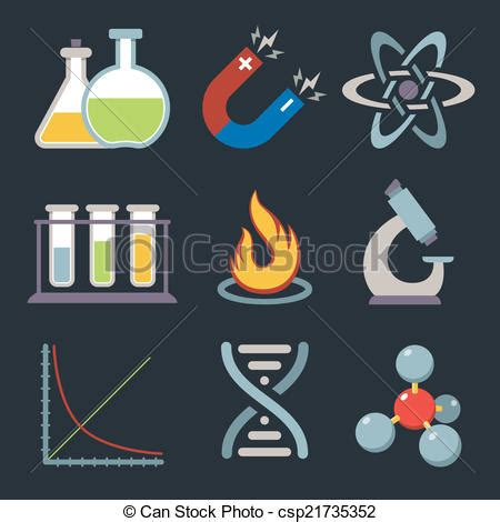 Physics science icons. Physics science equipment teaching ...