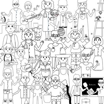 11418 community helpers clipart black and white and community helpers clipart with black white