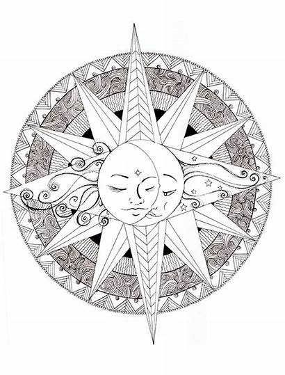 Mandala Coloring Moon Pages Mandalas Peace Colouring