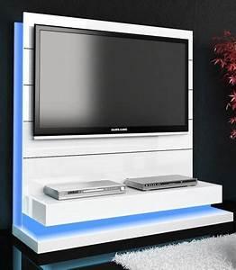 Meuble Cache Tv : meuble tv blanc design futuriste meubles tv hifi vid o ~ Premium-room.com Idées de Décoration