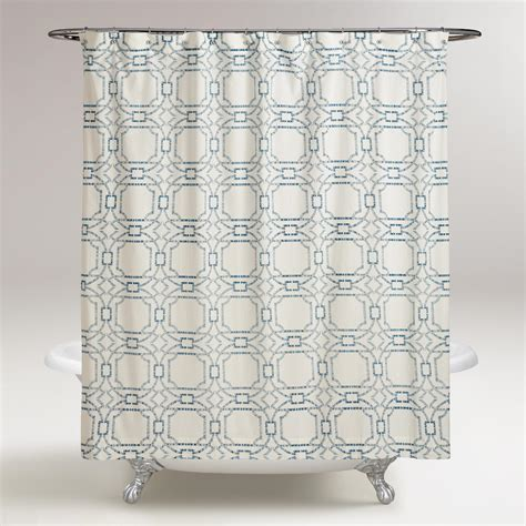 blue geo tile shower curtain world market