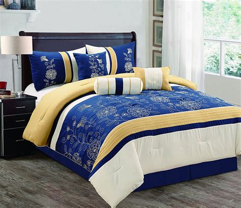 Grand Linen Comforter Set With Accent Pillows  Navy Blue
