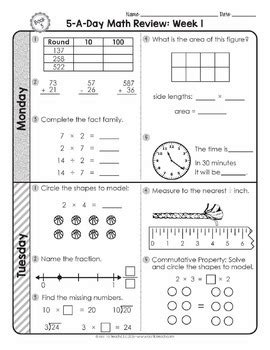 3rd grade daily math spiral review morning work editable by teacher thrive