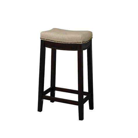 walnut counter stools linon home decor 24 in walnut cushioned bar 3337