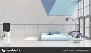 Bett Mit Licht : wei blaue schlafzimmer dekoriert mit licht blau bett baum glasvase stockfoto good24 185380278 ~ Frokenaadalensverden.com Haus und Dekorationen