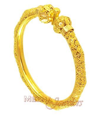 22k gold designer kada pipe bangle baka2481 22k gold kadas beautifully crafted in