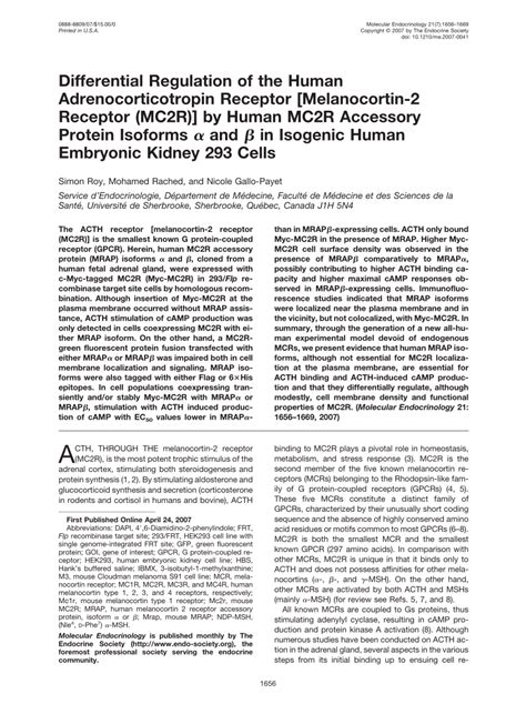 differential regulation of the human adrenocorticotropin