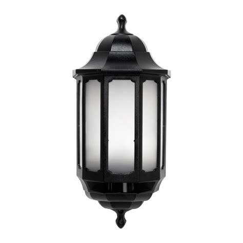 asd led half lantern outdoor wall light with dusk to