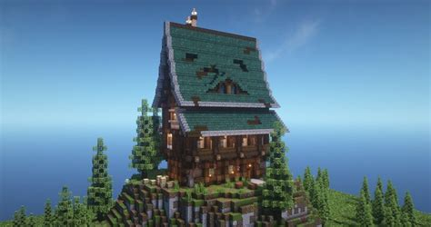 mountain  large medieval fantasy house minecraft map