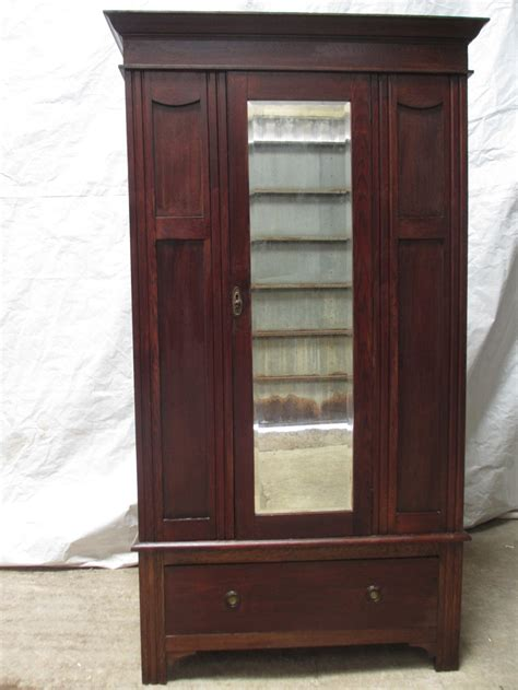 victorian edwardian oak single mirror door wardrobe