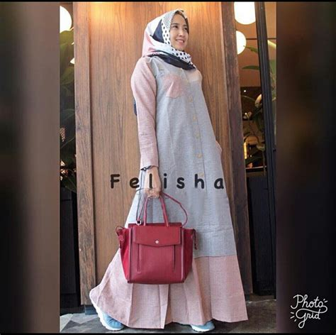 gamis soft denim baju gamis remaja felisha maxi busana muslim modern