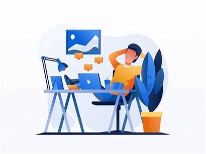 Office Illustrations Dribbble Illustration Flat Icon Environment