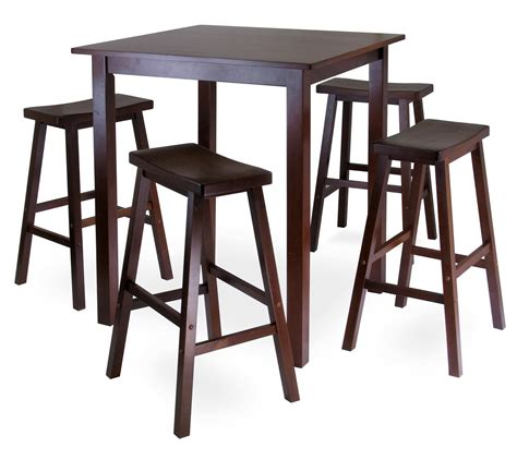 winsome parkland 5pc square high pub table set with 4 saddle seat stools by oj commerce 94549