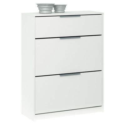 meuble tiroir blanc meubles chaussures 2 abattants et 1 tiroir coloris blanc