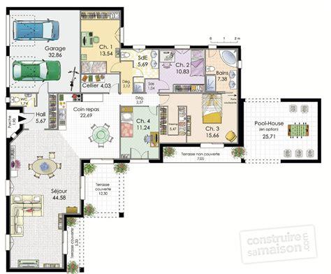 plan de maison 2 chambres maison plain pied 120m2 bp54 jornalagora