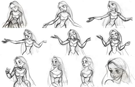 rapunzel character designs expression sheets tangled