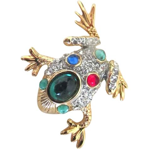 vintage animal pin brooch small bejeweled frog colored