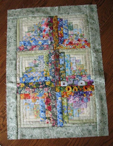 small watercolor floral log cabin tops  doll quilt