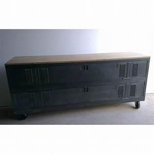 meuble tv industriel ancien vestiaire usine decoration With meuble casier