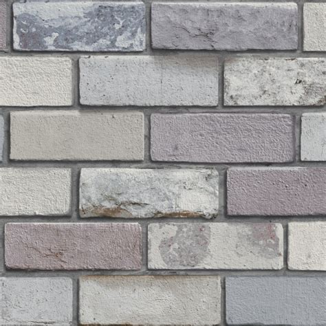 arthouse industrial pastel grey  effect brick wallpaper