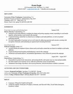 Sample Resume For It Student With No Experience Sample Resumes Center For Career And Professional