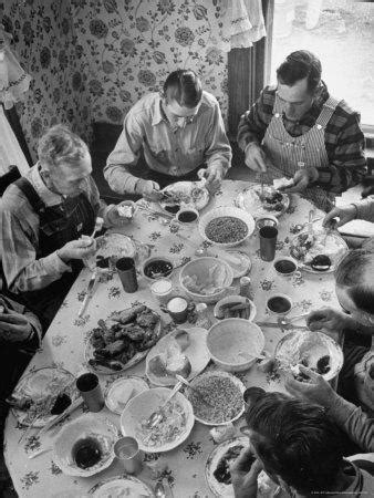 harvest farm hands eating lunch served   wives