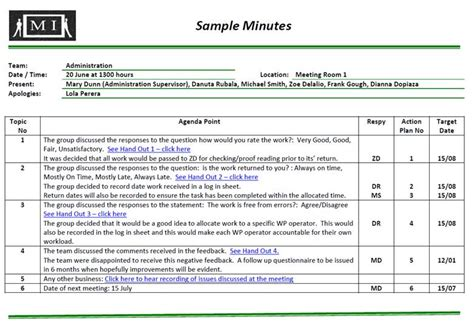 Recording Meeting Minutes Template by Recording Minutes