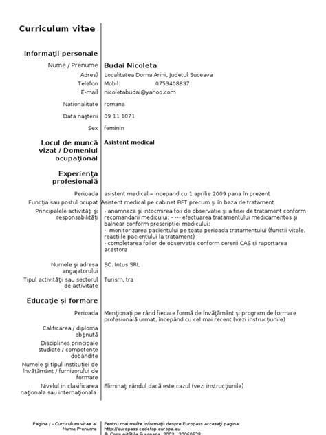 Modele Cv Doc by Model Cv Curriculum Vitae European Romana