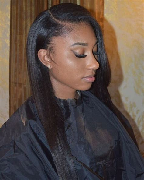 Sew In Weave Hairstyles Side Part by Side Part Sew In W Minimum Leave Out