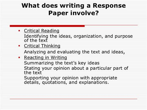 How To Write A Reading Paper by How To Write A Reaction Response Paper