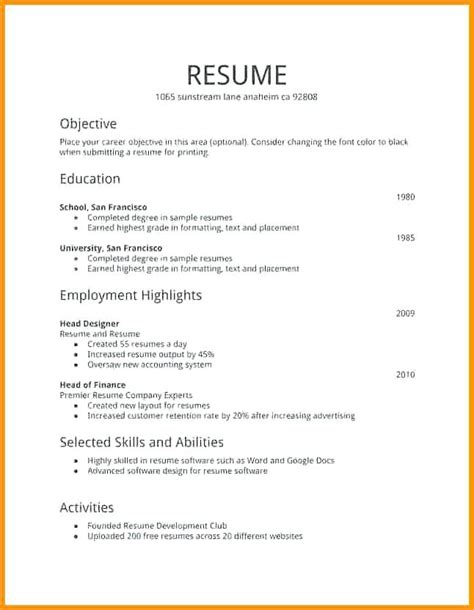 Free Employment Resume Templates by Free Resume Templates Biodata Format