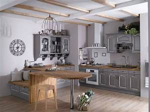 Table De Cuisine Grise : la cuisine esprit campagne nous charme elle d coration ~ Teatrodelosmanantiales.com Idées de Décoration