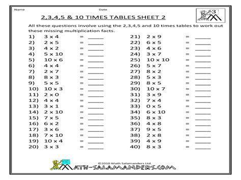 3 And 4 Times Table Worksheet Descargardropbox
