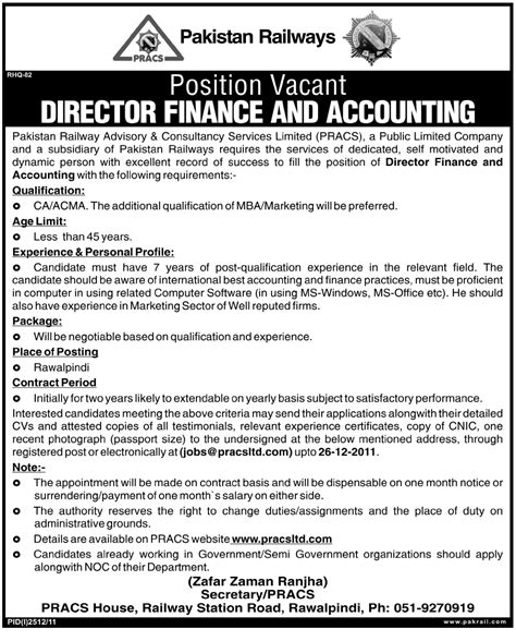 Director Finance And Accounting Required By Pakistan