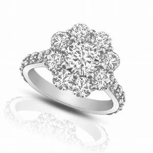 290 ct round cut diamond cluster engagement ring With cluster diamond wedding rings
