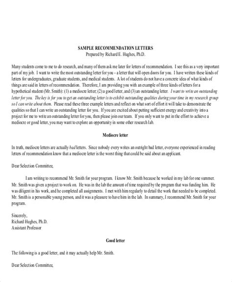 sample generic recommendation letter templates