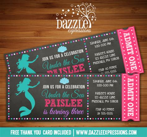 printable mermaid chalkboard ticket birthday invitation