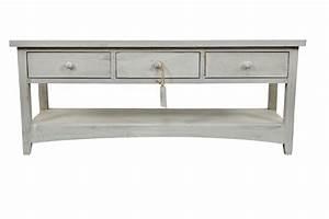 Console Bois Blanc : meuble console bois ceruse blanc 3 tiroirs 110x38x45cm ~ Teatrodelosmanantiales.com Idées de Décoration