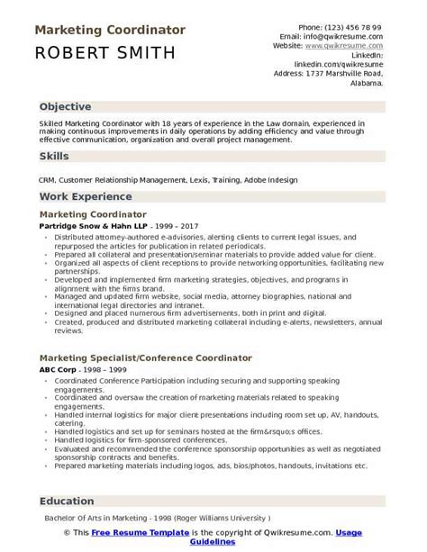 Resume Creation Pdf by Marketing Coordinator Resume Sles Qwikresume