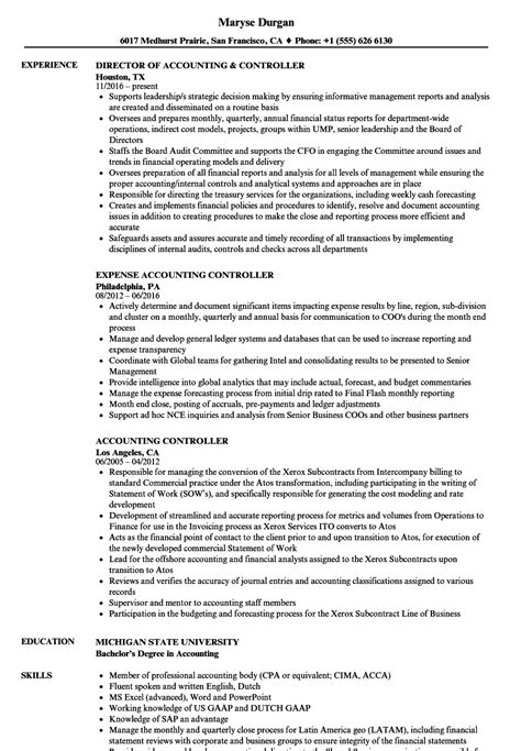 Accounting Controller Resume Samples  Velvet Jobs