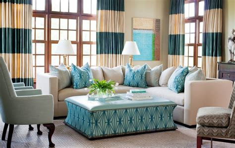 horizontal striped curtains turquoise accents home